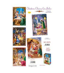 Postal christmas clasico oro belen arguval 45075