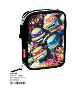 Estuche con pinturas y rotuladores doble tortugas ninjas montichelvo 52109 - 52109
