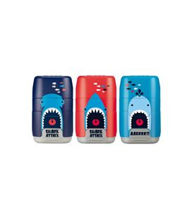 Sacapuntas y goma afilaborras compact shark attack milan 4706116srt - 4706116SRT
