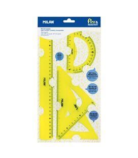 Juego reglas 4 piezas flex&resistant amarillo milan 359801y