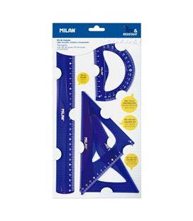 Juego reglas 4 piezas flex&resistant azul milan 359801