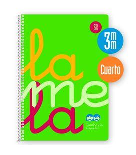 Cuaderno 4º 3mm 80h 90g tapa plastic verde fluor lamela 7ctp003v - 7CTP003V