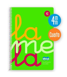 Cuaderno 4º 4mm 80h 90g tapa plastic verde fluor lamela 7ctp004v