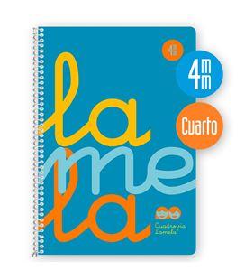 Cuaderno 4º 4mm 80h 90g tapa plastic azul fluor lamela 7ctp004b