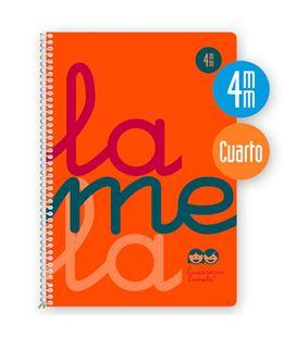 Cuaderno 4º 4mm 80h 90g tapa plastic naranja fluor lamela 7ctp004n