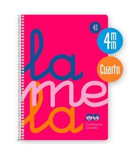 Cuaderno 4º 4mm 80h 90g tapa plastic rosa fluor lamela 7ctp004r