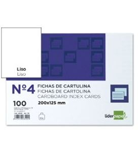 Ficha cartulina lisa nº4 120x200mm 100u. liderpapel 03528