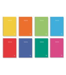 Cuaderno espiral cuarto pauta 2,5 80h 60grs tapa dura color pacsa 16737