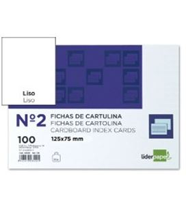 Ficha cartulina lisa nº2 75mmx125mm 100u liderpapel 03530