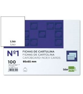 Ficha cartulina lisa nº1 65mmx95mm 100u liderpapel 03529