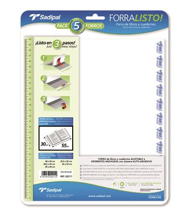 Foliorro libro ajustable 29x55 blister 5u. foliorralisto sadipal 02209 - 112440