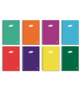 Cuaderno espiral cuarto liso 80h 60grs tapa color pacsa 16307