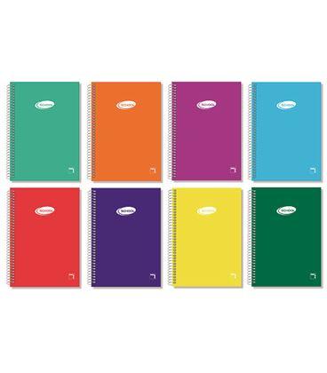 Cuaderno espiral cuarto liso 80h 60grs tapa color pacsa 16307 - 113948