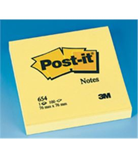 Notas adhesivas 76x76 amarillo post it 654 3m