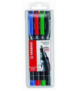 Rotulador permanente 1mm ohpen pack 4 colores stabilo 843/4