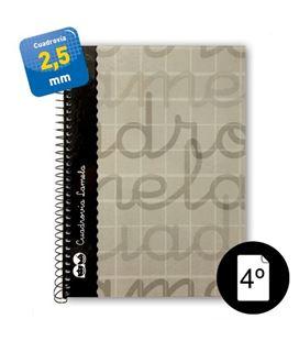 Cuaderno cuarto 2,5mm 80h 70g t.dura gris lamela 7cte002g