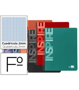 Cuaderno espiral fº 2mm con margen 80h 60grs tapa dura inspire liderpapel 3 - 32887
