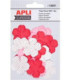 Flores de papel rojas surtidas 25uni. apli 13851