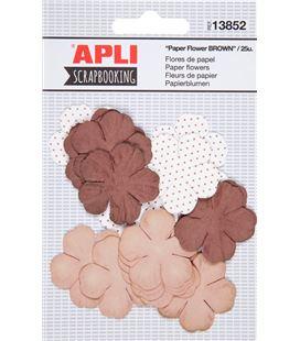 Flores de papel marrones surtidas 25uni. apli 13852