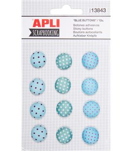 Botones adhesivos azules 12uni. apli 13843