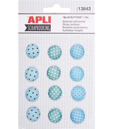 Botones adhesivos azules 12uni. apli 13843 - 13843