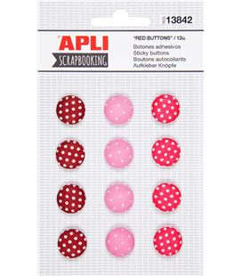 Botones adhesivos rojos 12uni. apli 13842