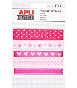 Cinta tela rosa decoradas surtidas 1metro 5 unidades apli 13724