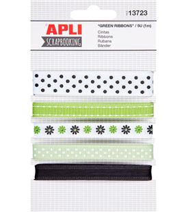 Cinta tela verde decoradas surtidas 1metro 5 unidades apli 13723