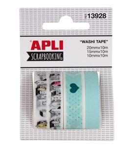 Cinta adhesiva decorada washi tape surtidos 3 unix10m apli 13928