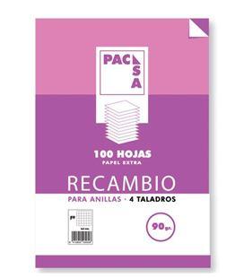 Recambio folio 4 anillas 4x4 100h 90grs pacsa 21261