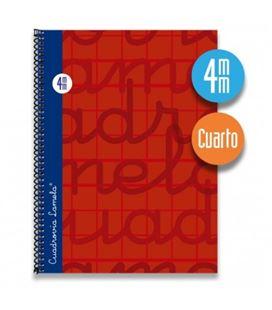 Cuaderno cuarto 4mm 80h 70g t.dura rojo lamela 7cte004r