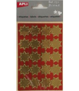 Gomet bolsa etiquetas estrella oro 3h apli 721