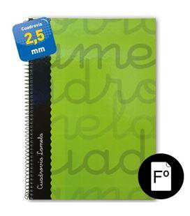 Cuaderno folio 2,5mm 80h 70g t.dura verde lamela 7fte002v 53735