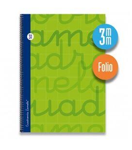 Cuaderno folio 3mm 80h 70g tapa dura verde lamela 7fte003v 537317
