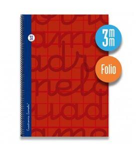 Cuaderno folio 3mm 80h 70g tapa dura rojo lamela 7fte003r 537300