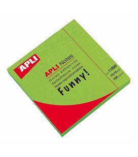 Nota adhesiva posit 75x75 100h verde brillante apli 11899 - 11899