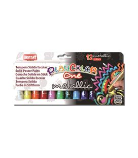 Tempera solida metallic one 12 und 10grs colores playcolor 10121 - 111482