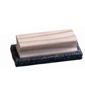 Borrador pizarra pequeño fieltro empuñadura madera 4x11x1,5 faibo