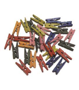 Pinzas de madera pack 30 colores pequeñas smart 68005900 - 112106