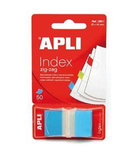 Nota adhesiva posit banderita 25x45 zigzag 50h azul apli 12611
