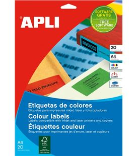 Etiqueta colores rojo 20h 70x37mm apli 01593