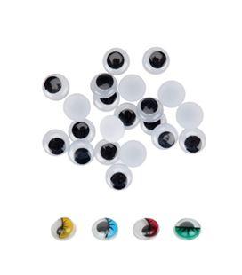 Ojos redondos moviles adhesivos 15mm 30u. negros fixo kids 3036 68010300