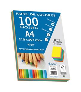 Papel a4 80gr 100h colores intensos dohe 30170