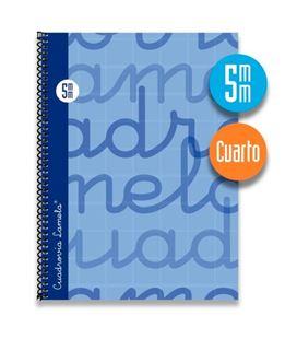Cuaderno cuarto 5mm 80h 70g tapa dura azul lamela 7cte005a
