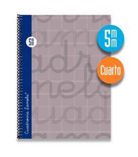 Cuaderno 4º 5mm 80h 70g tapa dura gris lamela 7cte005g