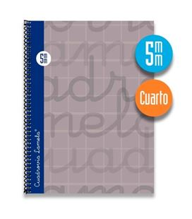 Cuaderno cuarto 5mm 80h 70g tapa dura gris lamela 7cte005g