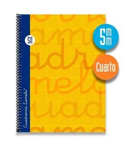 Cuaderno cuarto 5mm 80h 70g tapa dura naranja lamela 7cte005n