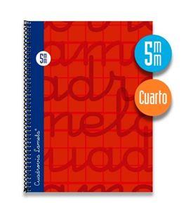 Cuaderno cuarto 5mm 80h 70g tapa dura rojo lamela 7cte005r