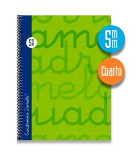 Cuaderno 4º 5mm 80h 70g tapa dura verde lamela 7cte005v