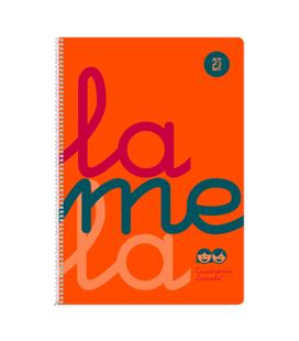 Cuaderno fº 2,5mm 80h 90g tapa plastic naranja fluor lamela 7ftp002n